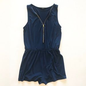 Ambiance - Navy Romper with Gold Zipper